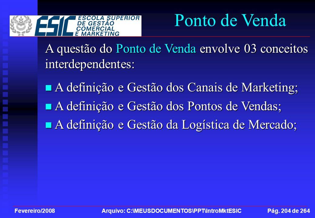 Ponto de Venda A questão do Ponto de Venda envolve 03 conceitos interdependentes: A definição e Gestão dos Canais de Marketing;