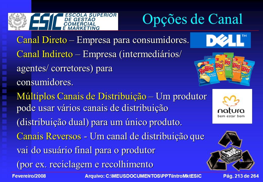 Opções de Canal Canal Direto – Empresa para consumidores.