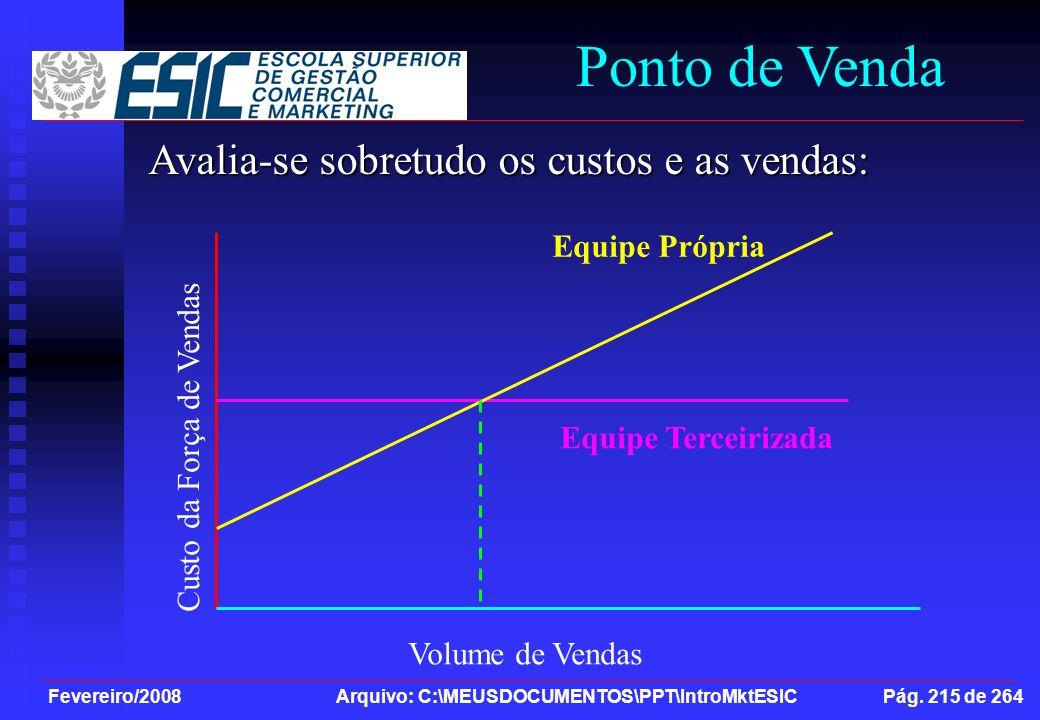 Ponto de Venda Avalia-se sobretudo os custos e as vendas: