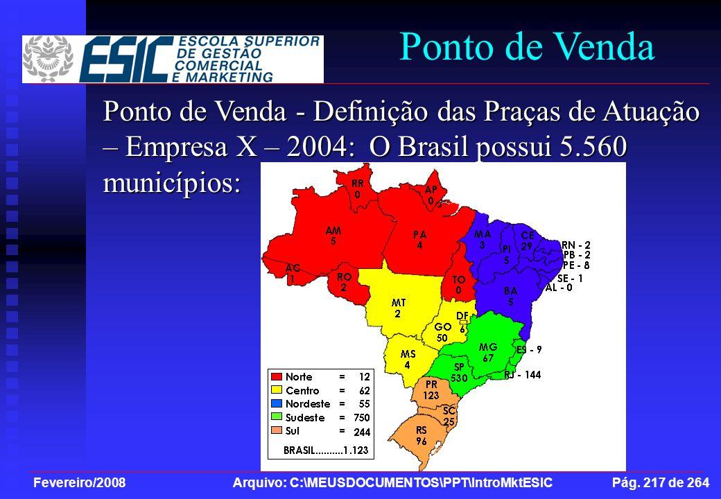 Ponto de Venda Ponto de Venda - Definição das Praças de Atuação – Empresa X – 2004: O Brasil possui 5.560 municípios: