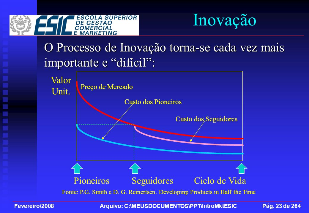 Inovação O Processo de Inovação torna-se cada vez mais importante e difícil : Ciclo de Vida. Pioneiros.