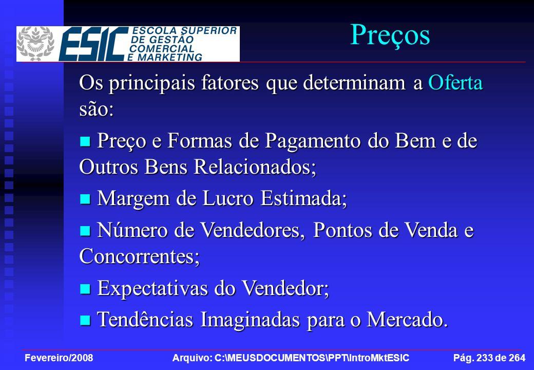 Preços Os principais fatores que determinam a Oferta são: