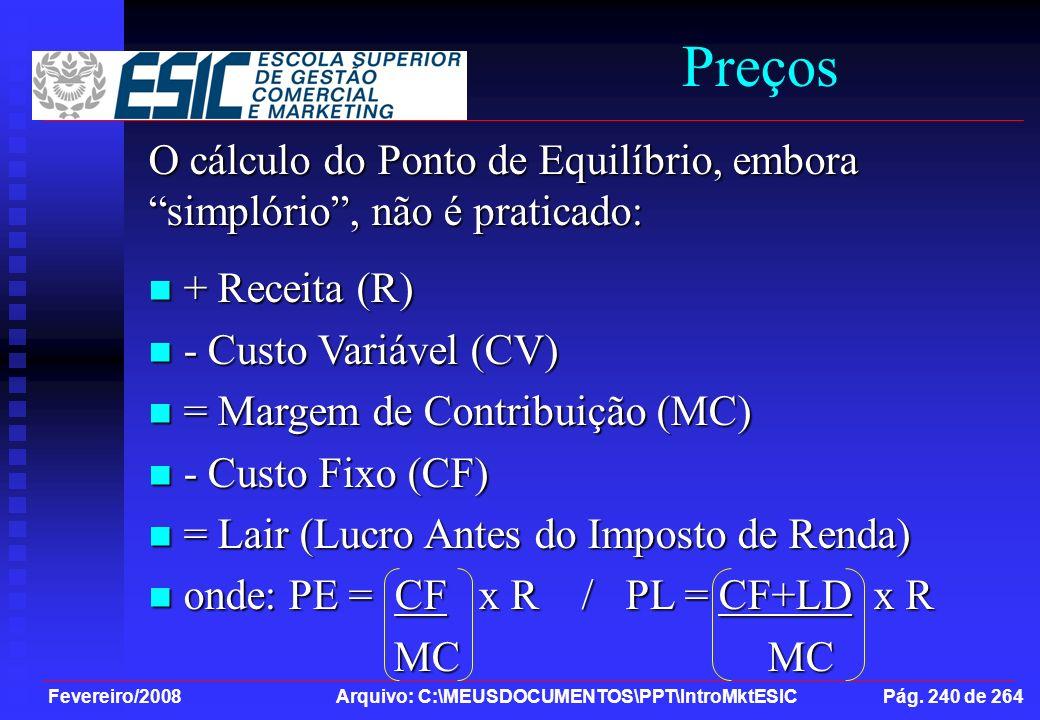 Preços O cálculo do Ponto de Equilíbrio, embora simplório , não é praticado: + Receita (R) - Custo Variável (CV)