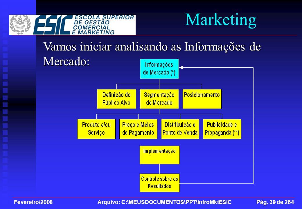 Marketing Vamos iniciar analisando as Informações de Mercado: