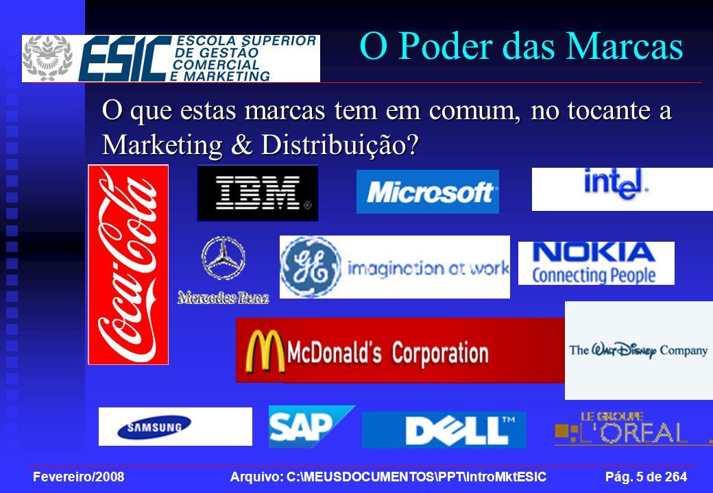 O Poder das Marcas O que estas marcas tem em comum, no tocante a Marketing & Distribuição