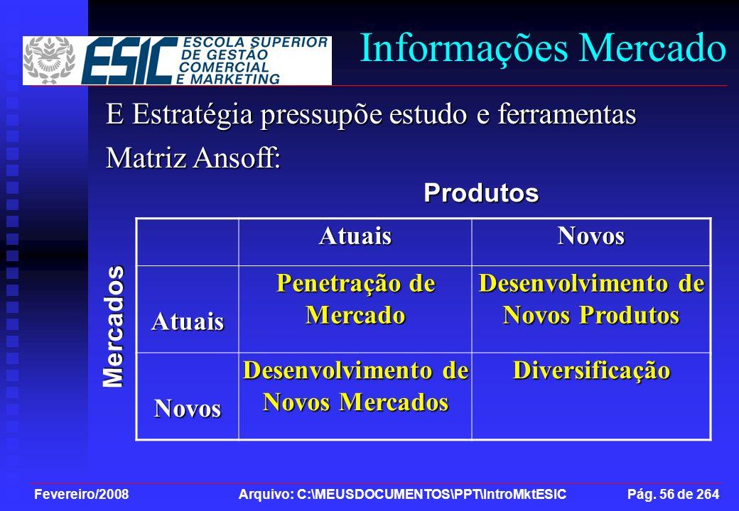 Desenvolvimento de Novos Produtos Desenvolvimento de Novos Mercados