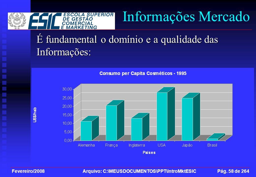 Informações Mercado É fundamental o domínio e a qualidade das Informações: