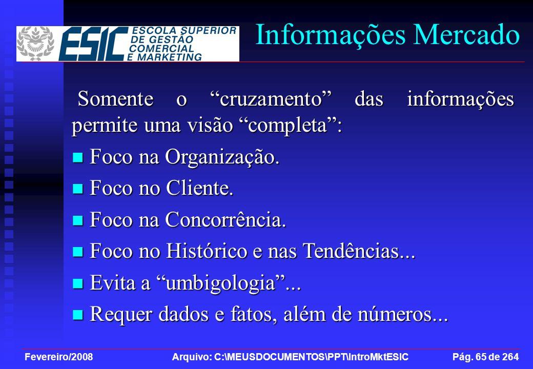 Informações Mercado Somente o cruzamento das informações permite uma visão completa : Foco na Organização.
