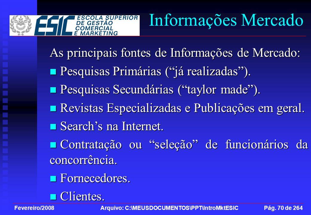 Informações Mercado As principais fontes de Informações de Mercado: