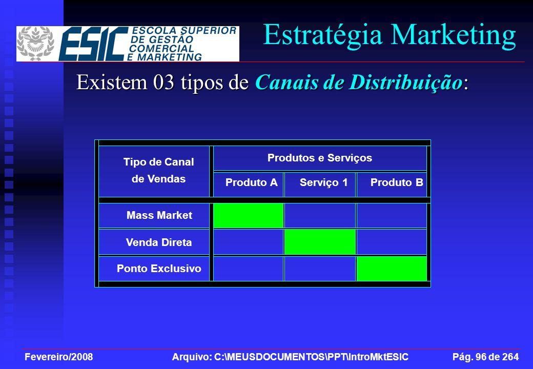 Estratégia Marketing Existem 03 tipos de Canais de Distribuição: