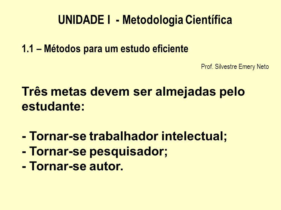 UNIDADE I - Metodologia Científica