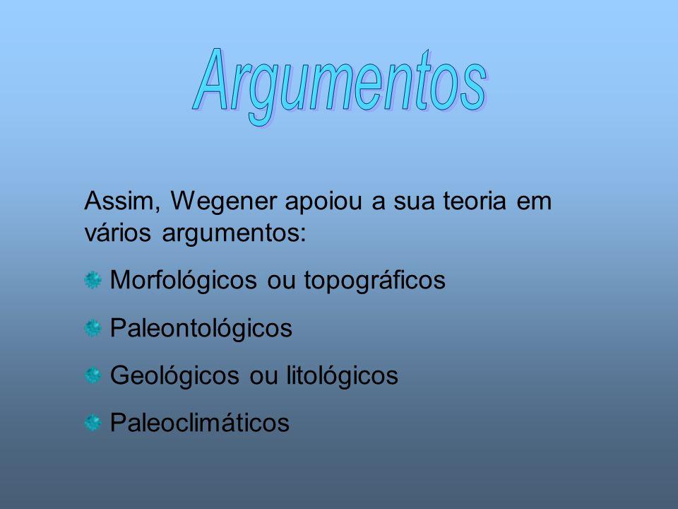 Argumentos Assim, Wegener apoiou a sua teoria em vários argumentos: