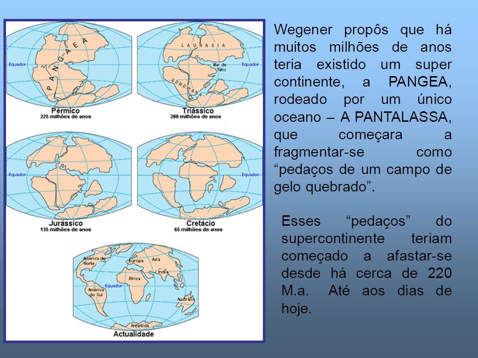 Wegener propôs que há muitos milhões de anos teria existido um super continente, a PANGEA, rodeado por um único oceano – A PANTALASSA, que começara a fragmentar-se como pedaços de um campo de gelo quebrado .