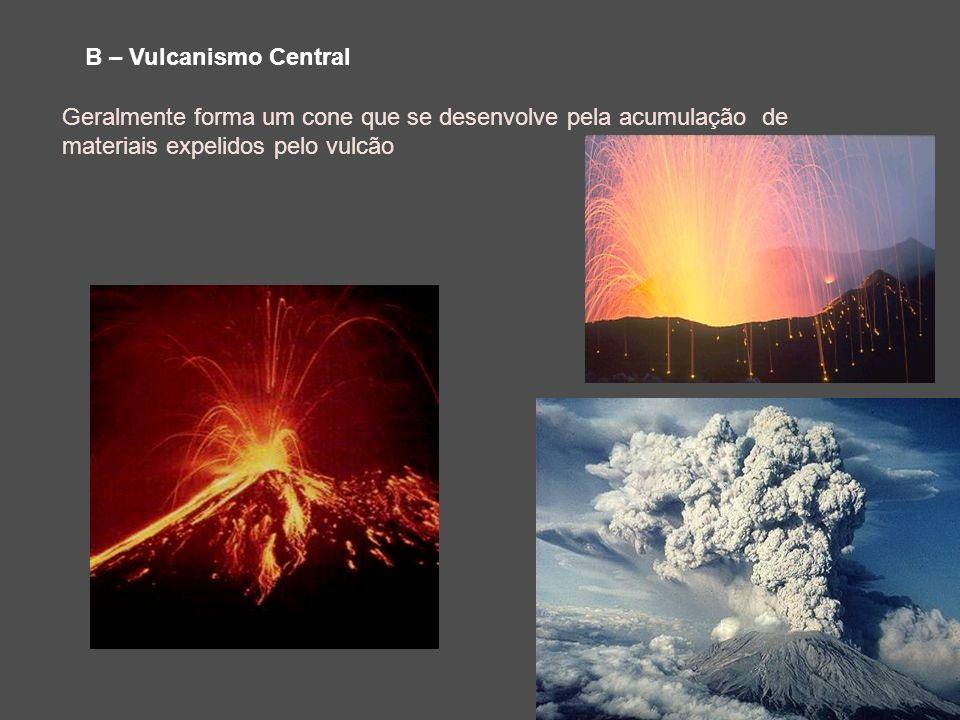 B – Vulcanismo Central Geralmente forma um cone que se desenvolve pela acumulação de materiais expelidos pelo vulcão.
