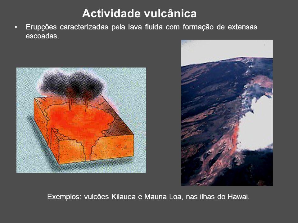 Actividade vulcânica Erupções caracterizadas pela lava fluida com formação de extensas escoadas.