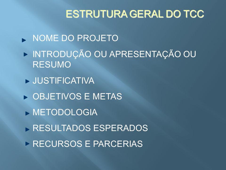 ESTRUTURA GERAL DO TCC NOME DO PROJETO