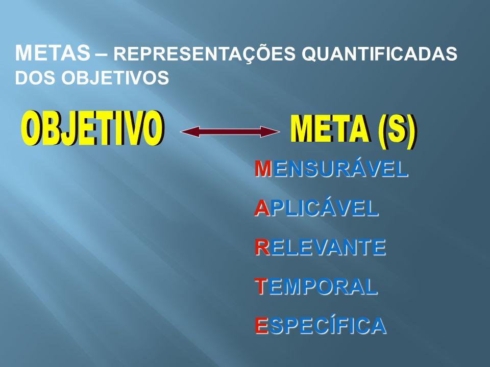 OBJETIVO META (S) METAS – REPRESENTAÇÕES QUANTIFICADAS DOS OBJETIVOS