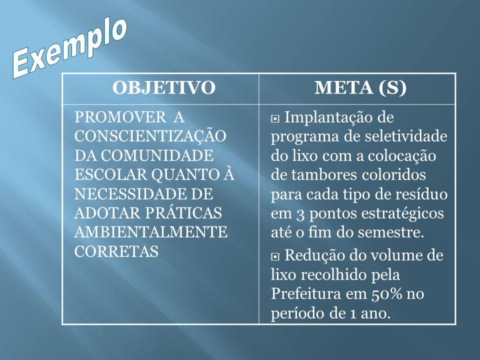 Exemplo OBJETIVO META (S)