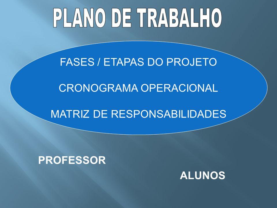 PLANO DE TRABALHO FASES / ETAPAS DO PROJETO CRONOGRAMA OPERACIONAL