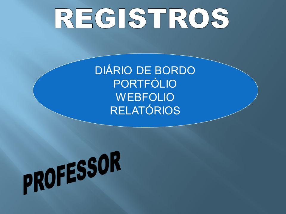 REGISTROS DIÁRIO DE BORDO PORTFÓLIO WEBFOLIO RELATÓRIOS PROFESSOR