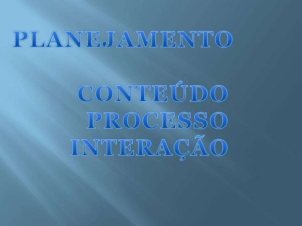 PLANEJAMENTO CONTEÚDO PROCESSO INTERAÇÃO