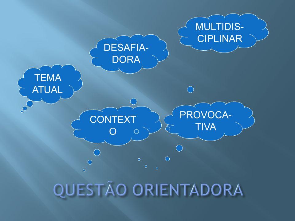 QUESTÃO ORIENTADORA MULTIDIS-CIPLINAR DESAFIA-DORA TEMA ATUAL