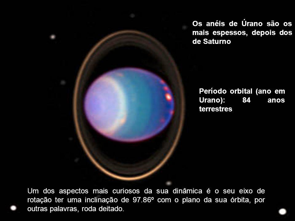 Os anéis de Úrano são os mais espessos, depois dos de Saturno