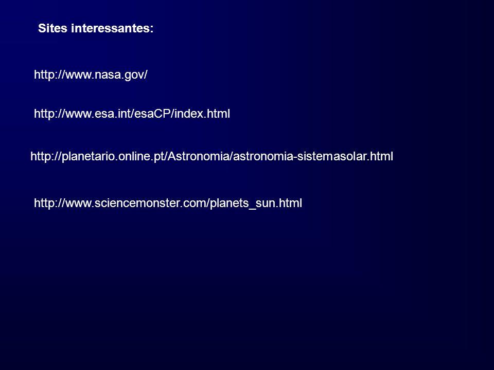 Sites interessantes: http://www.nasa.gov/ http://www.esa.int/esaCP/index.html. http://planetario.online.pt/Astronomia/astronomia-sistemasolar.html.