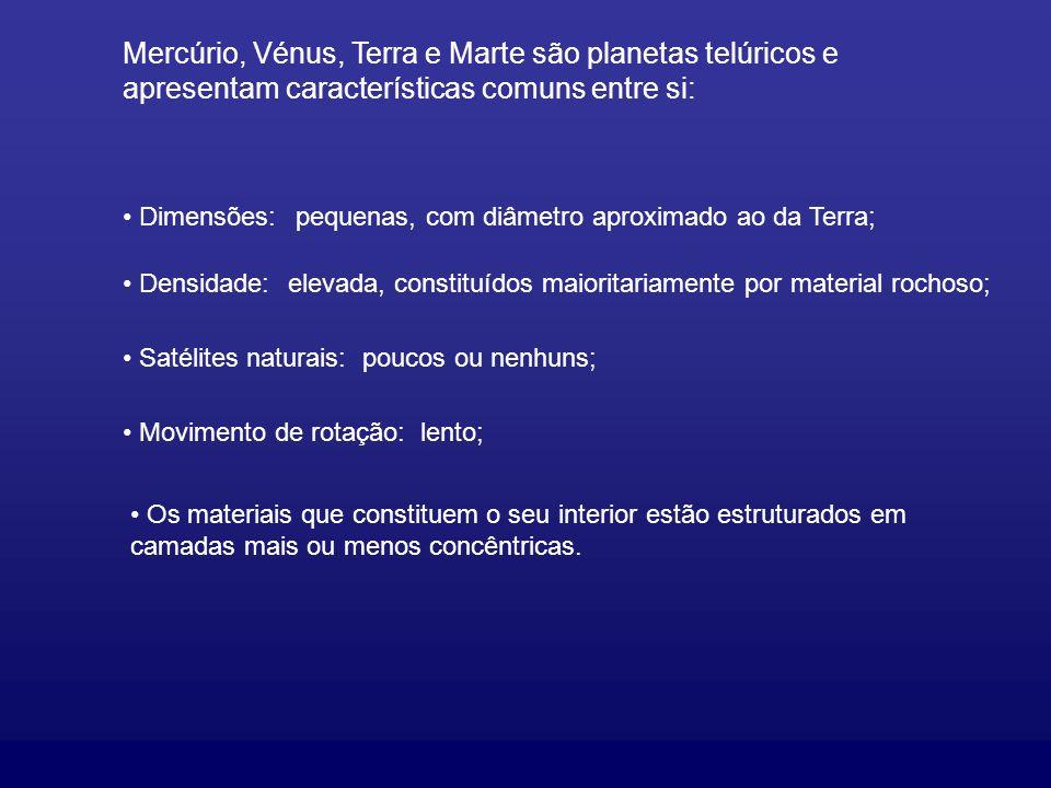Mercúrio, Vénus, Terra e Marte são planetas telúricos e apresentam características comuns entre si: