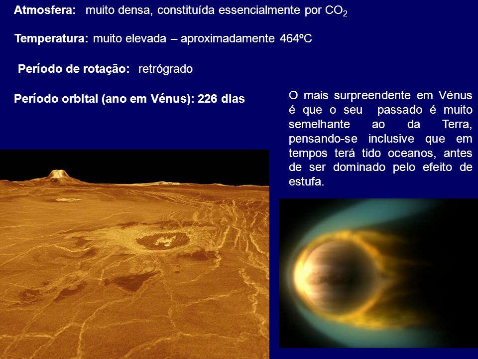 Atmosfera: muito densa, constituída essencialmente por CO2. Temperatura: muito elevada – aproximadamente 464ºC.