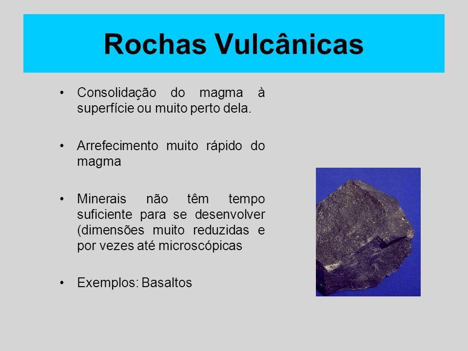 Rochas Vulcânicas Consolidação do magma à superfície ou muito perto dela. Arrefecimento muito rápido do magma.