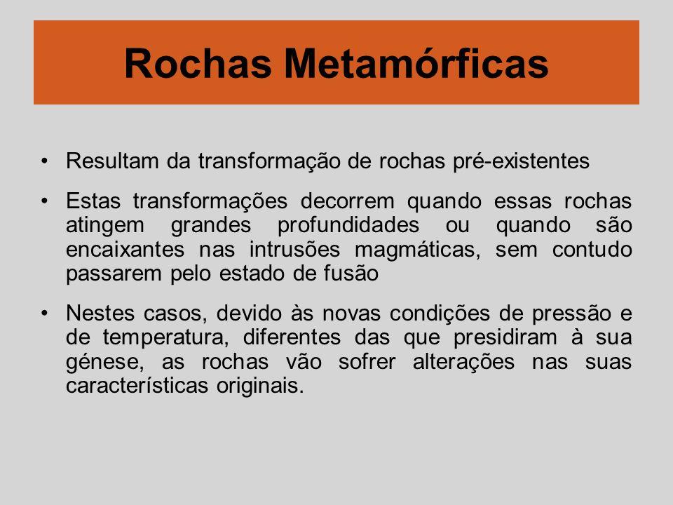 Rochas Metamórficas Resultam da transformação de rochas pré-existentes