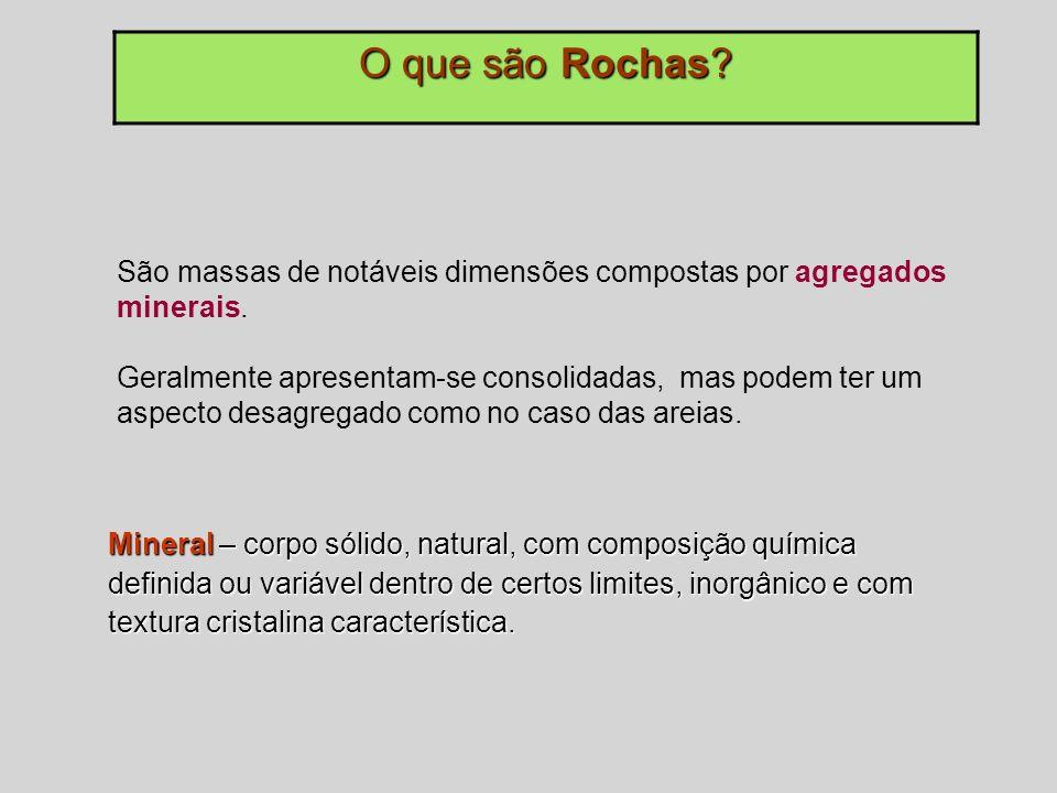 O que são Rochas São massas de notáveis dimensões compostas por agregados minerais.