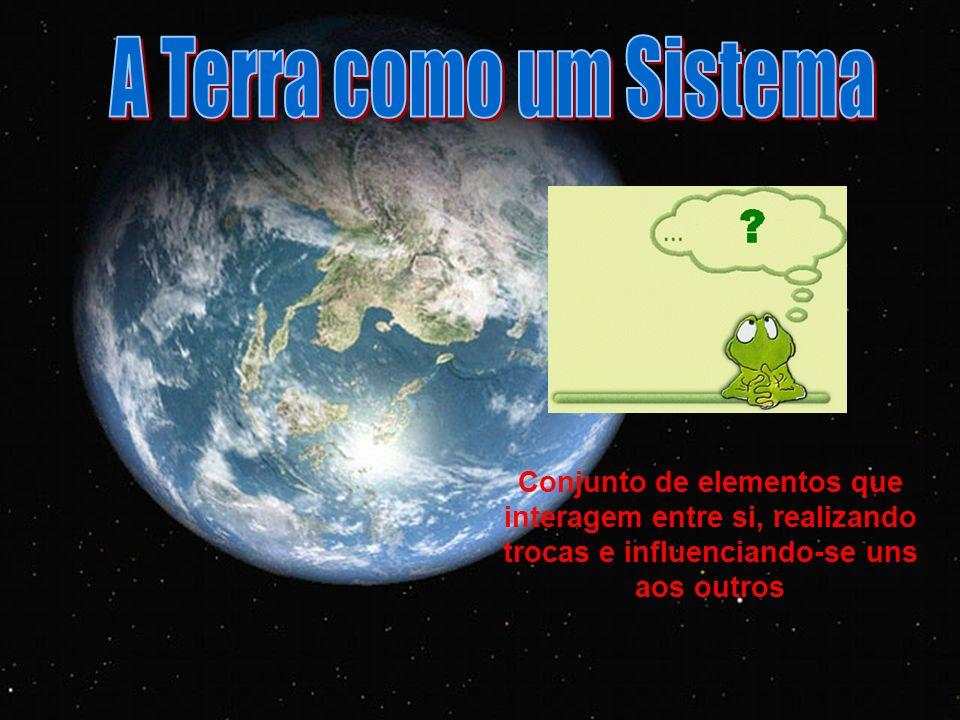 A Terra como um Sistema Conjunto de elementos que interagem entre si, realizando trocas e influenciando-se uns aos outros.