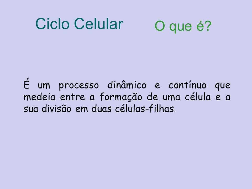 Ciclo Celular O que é.