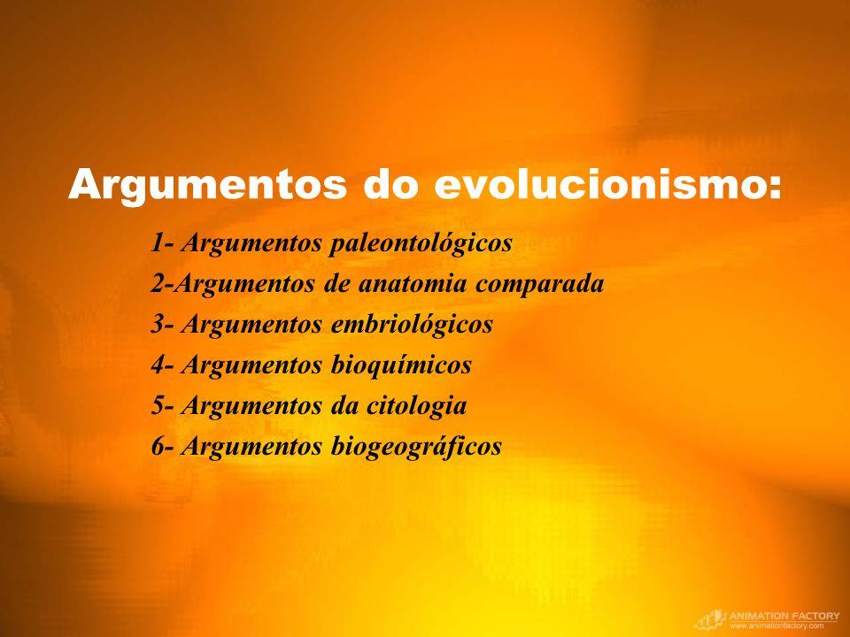 Argumentos do evolucionismo: