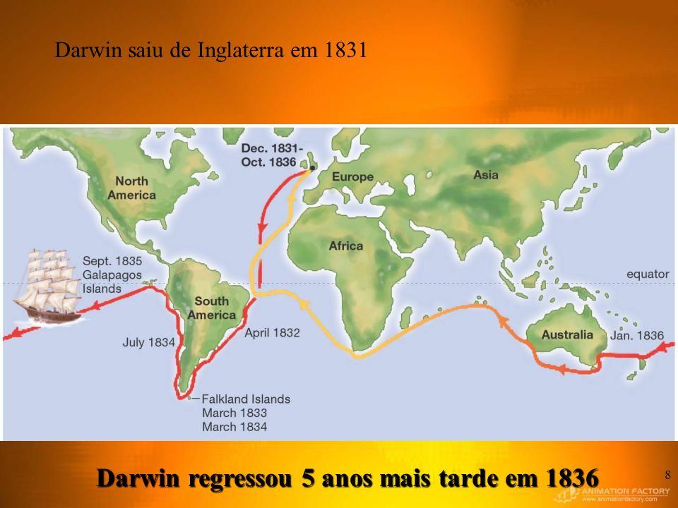 Darwin regressou 5 anos mais tarde em 1836