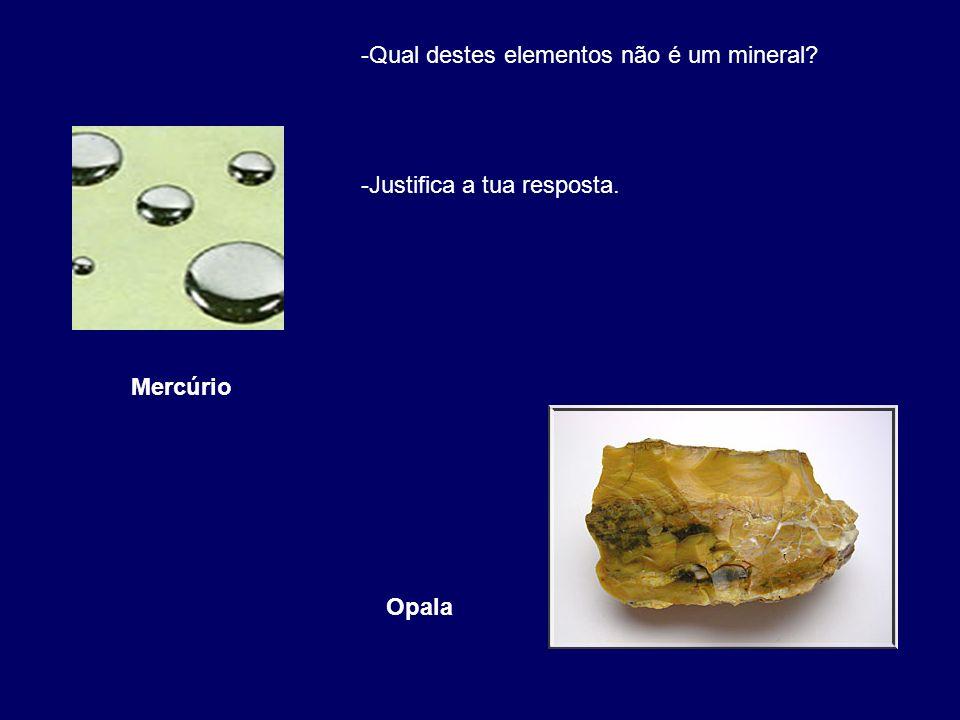 Qual destes elementos não é um mineral