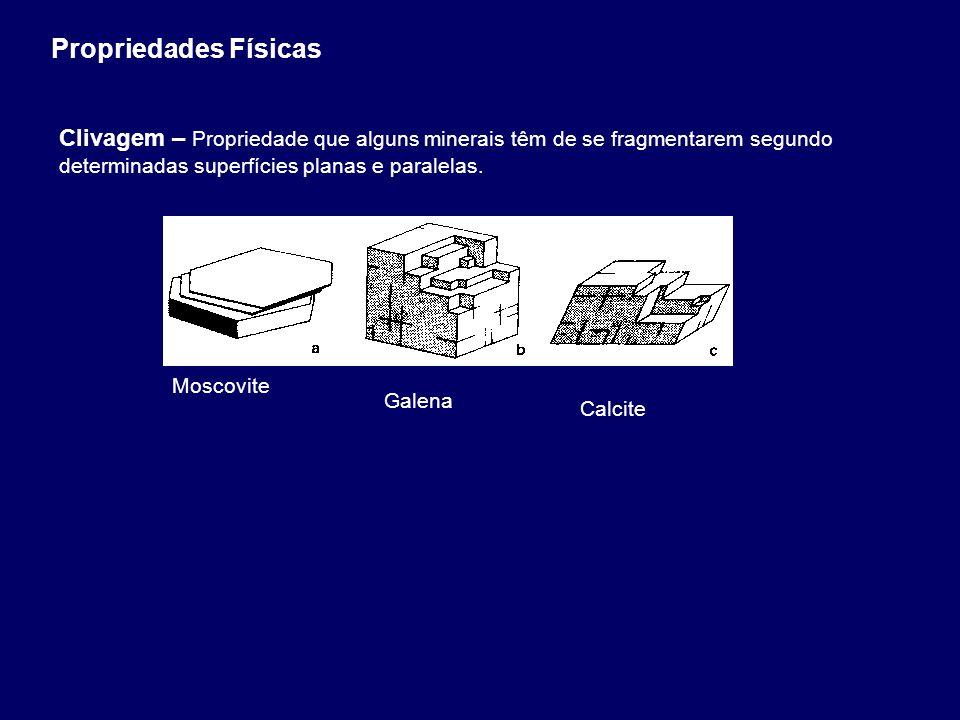 Propriedades Físicas Clivagem – Propriedade que alguns minerais têm de se fragmentarem segundo determinadas superfícies planas e paralelas.