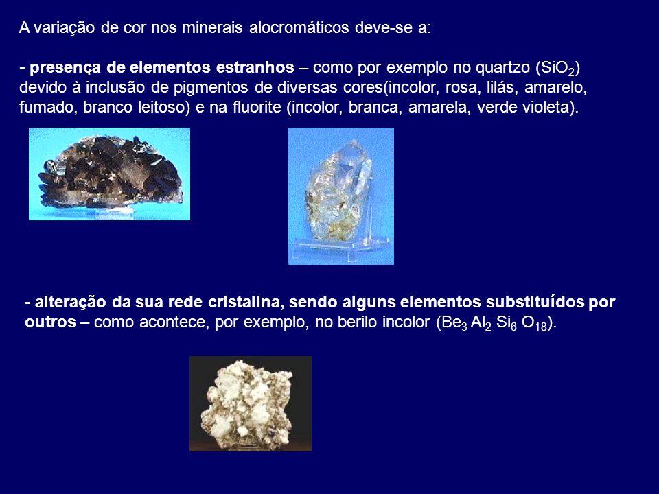 A variação de cor nos minerais alocromáticos deve-se a: