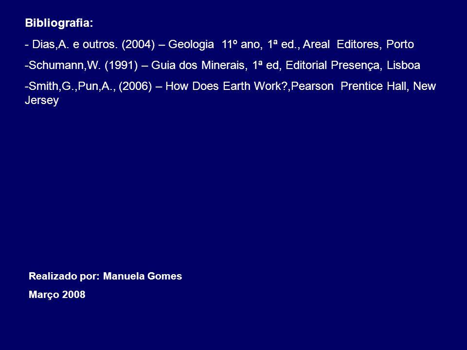Bibliografia: - Dias,A. e outros. (2004) – Geologia 11º ano, 1ª ed., Areal Editores, Porto.
