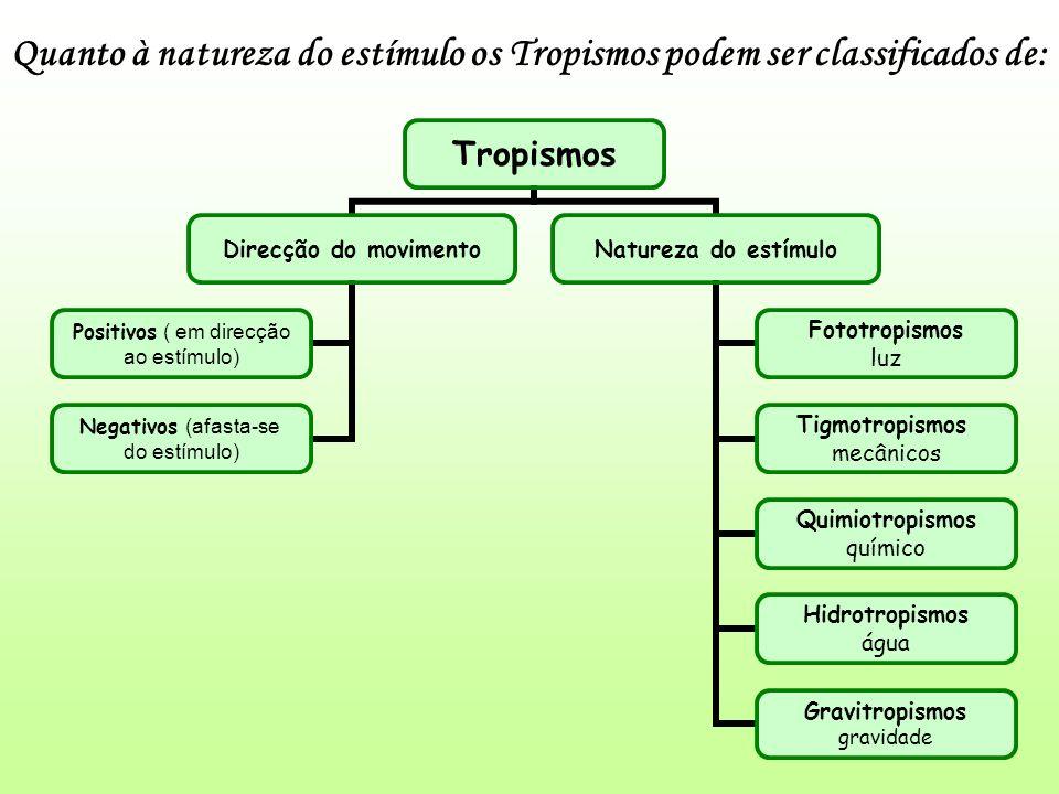Quanto à natureza do estímulo os Tropismos podem ser classificados de: