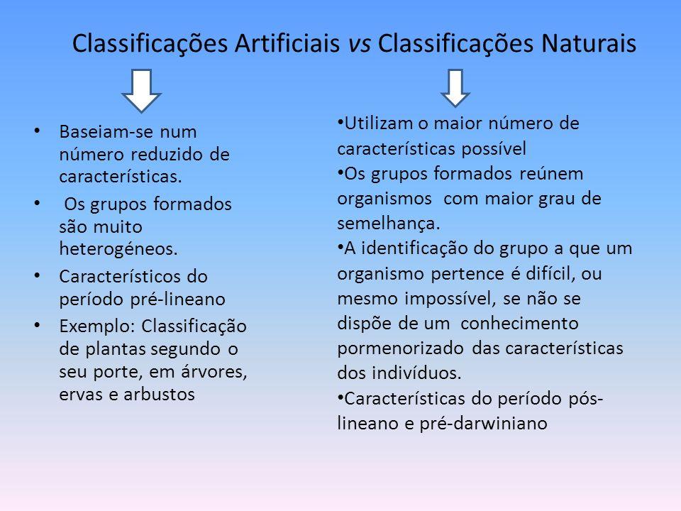 Classificações Artificiais vs Classificações Naturais