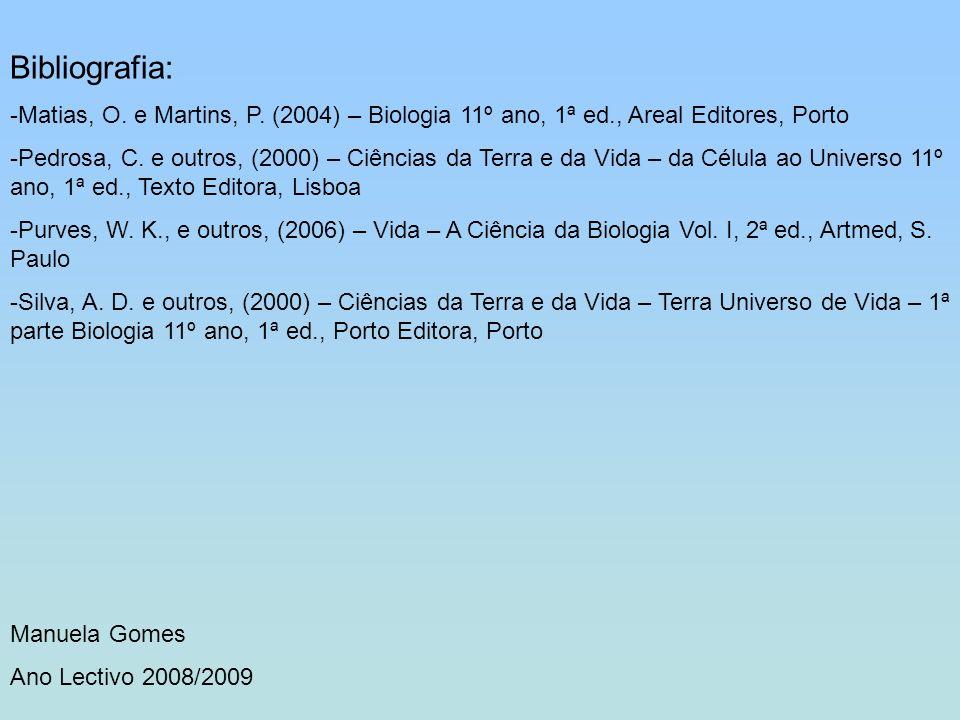 Bibliografia: Matias, O. e Martins, P. (2004) – Biologia 11º ano, 1ª ed., Areal Editores, Porto.