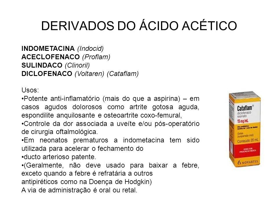 DERIVADOS DO ÁCIDO ACÉTICO