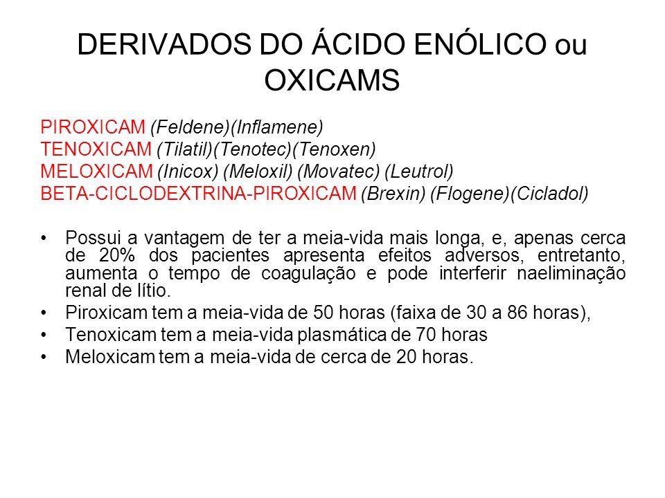 DERIVADOS DO ÁCIDO ENÓLICO ou OXICAMS