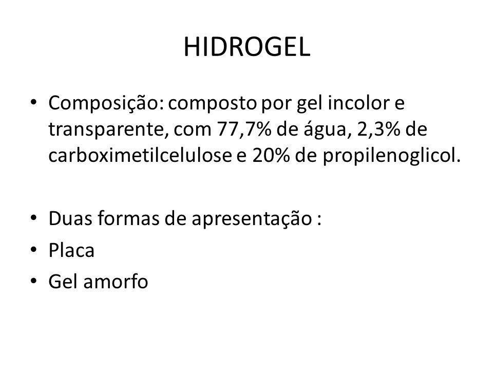 HIDROGEL Composição: composto por gel incolor e transparente, com 77,7% de água, 2,3% de carboximetilcelulose e 20% de propilenoglicol.
