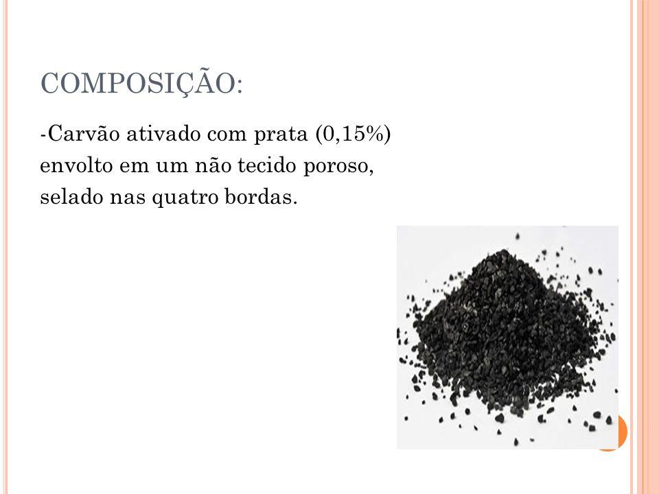 COMPOSIÇÃO:-Carvão ativado com prata (0,15%) envolto em um não tecido poroso, selado nas quatro bordas.