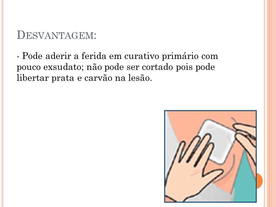 Desvantagem:- Pode aderir a ferida em curativo primário com pouco exsudato; não pode ser cortado pois pode libertar prata e carvão na lesão.