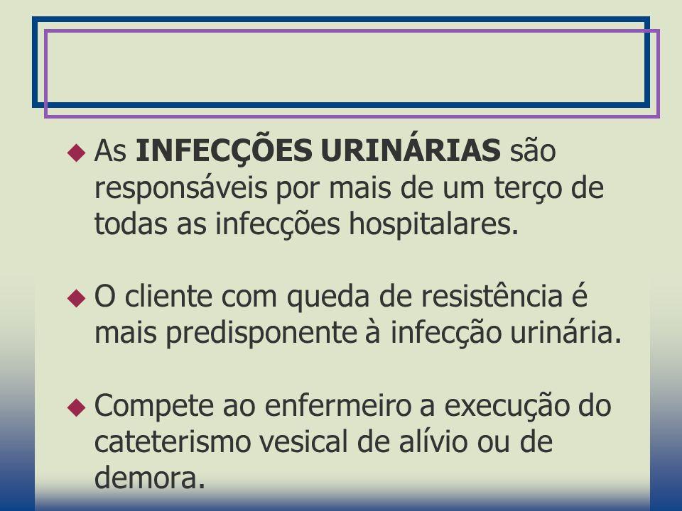 As INFECÇÕES URINÁRIAS são responsáveis por mais de um terço de todas as infecções hospitalares.